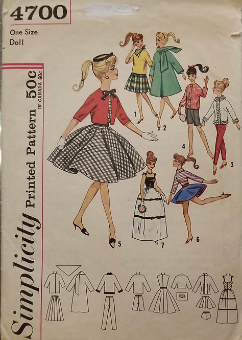 c. 1962 Simplicity doll clothes pattern #4700