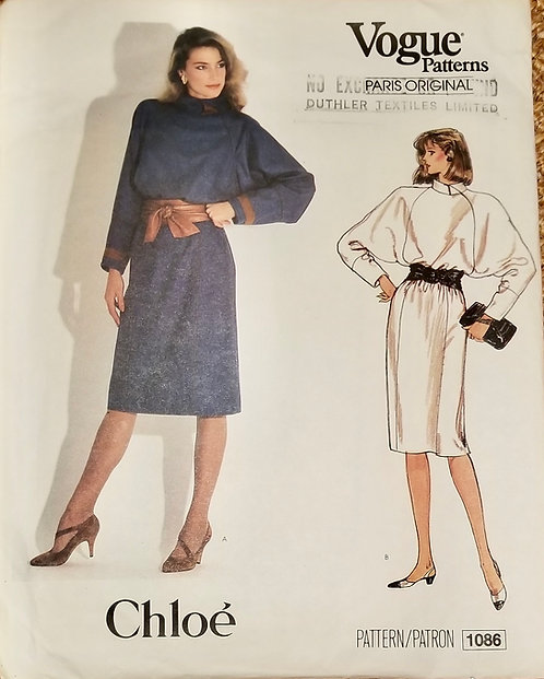 1983 Vogue Chloe dress pattern #1086