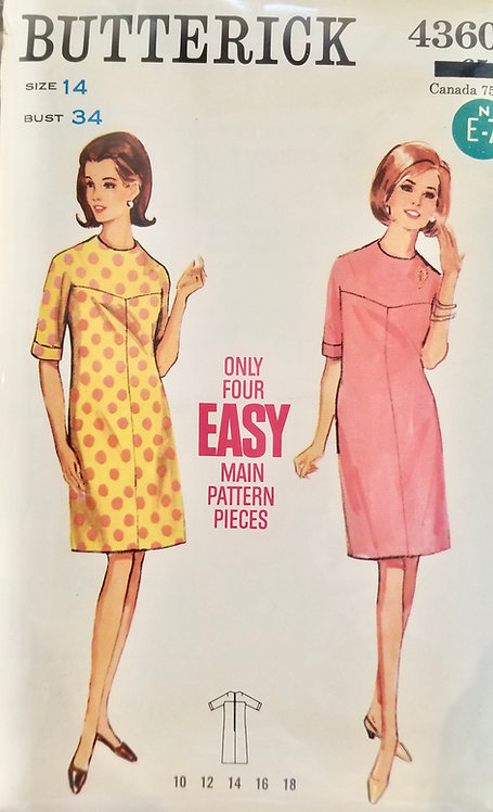 1967 Butterick dress pattern #4360