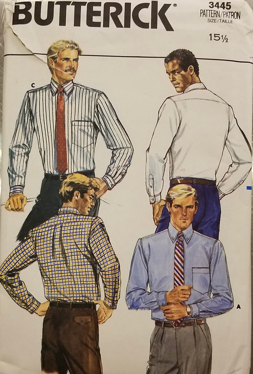 1985 Butterick man's shirt pattern #3445