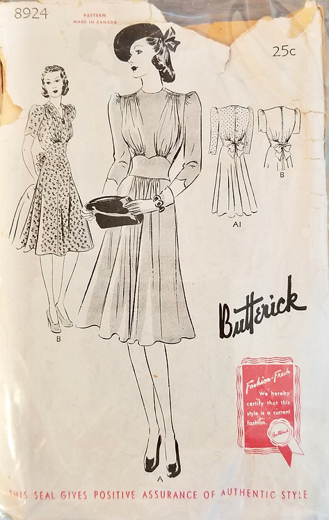 1940 Butterick dress pattern #8924