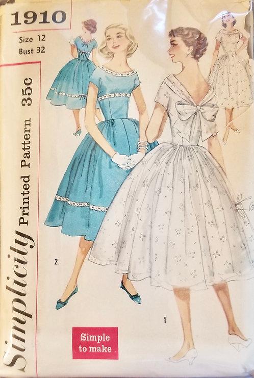 1956 circa Simplicity dress pattern #1910