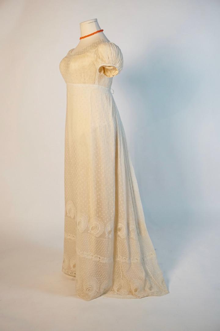 Embroidered Cotton Dress worn in Quebec City, 1816