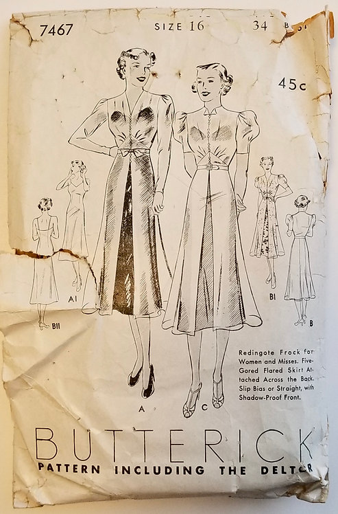 1937 BUtterick pattern #7467 dress
