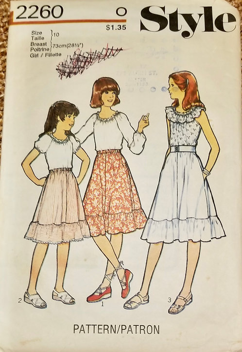 1978 Style girl's tops and skirt pattern #2260