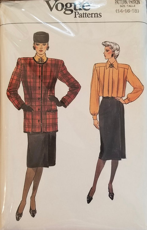 1985 Vogue suit and blouse pattern #9421
