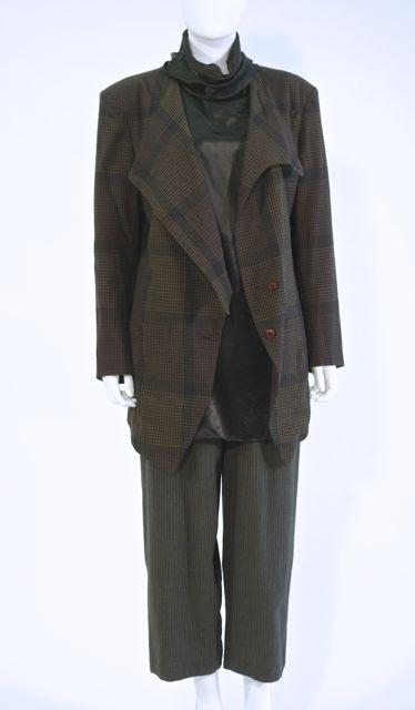 Tartan Wool Jacket by Issey Miyake, with Satin Blouse by Rei Kawakuba, Japan, late 1980s