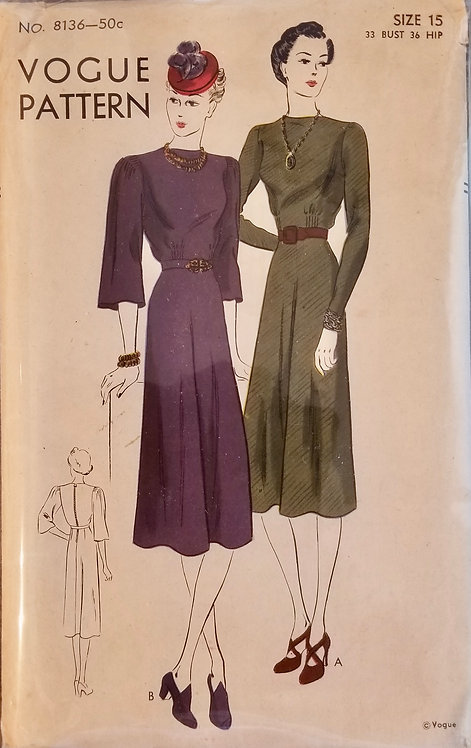 1938 (circa) Vogue dress pattern #8136