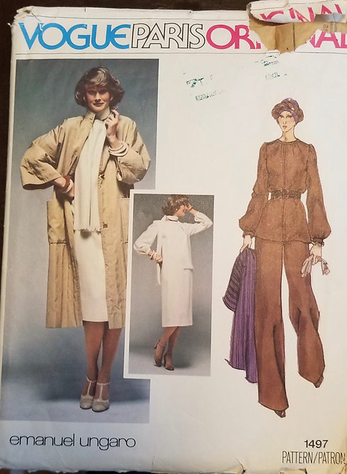 Late 1970s Vogue Paris Original pattern #1497 Emanuel Ungaro