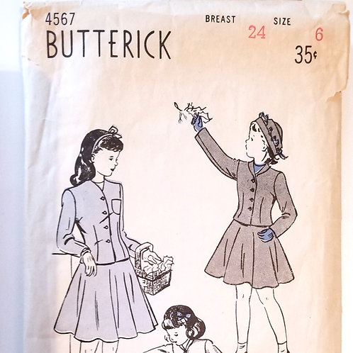 1948 Butterick #4567 Girl's suit
