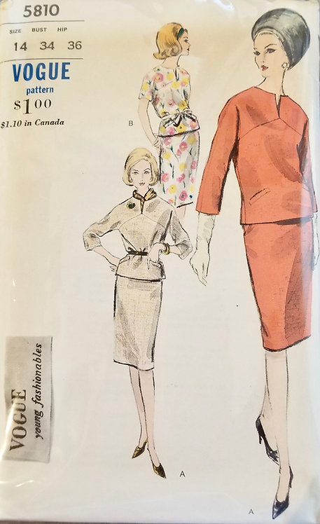 1963 Vogue 2 piece dress pattern #5810