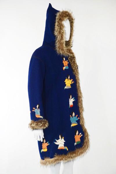 Felt and Wool Parka trimmed with Racoon by Alnaluaq Totalik, Taloyoak, Nunavut, c. 1975