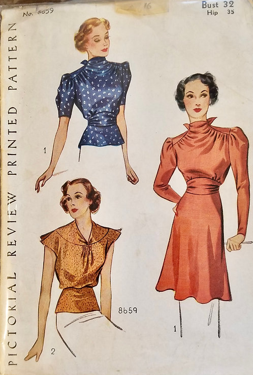 1937 circa Pictorial Review top pattern #8659