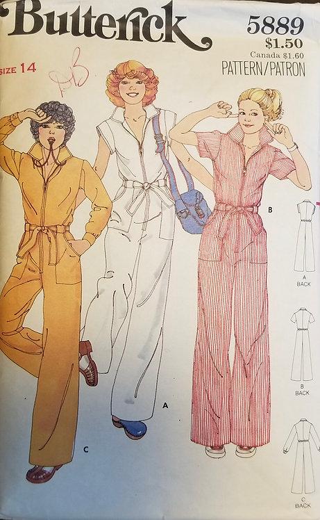 1977 (c.) Butterick pattern #5889 for jumpsuit