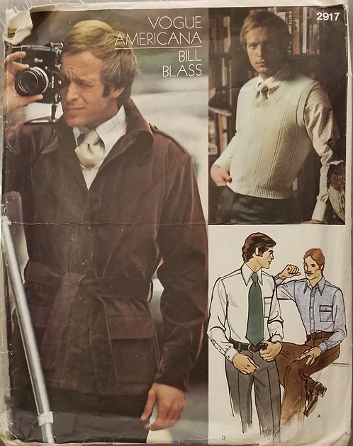 1973 Vogue Americana Bill Blass jacket, shirt, necktie, & sweater pattern #2917