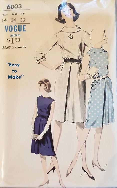 1963 circa Vogue dress pattern #6003