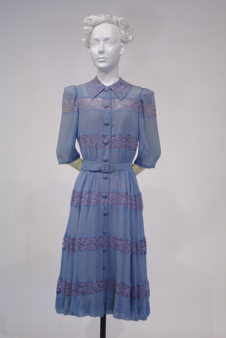 Blue Rayon Crepe and Machine Lace Dress worn 4 July, 1942, in Victoria, B.C.