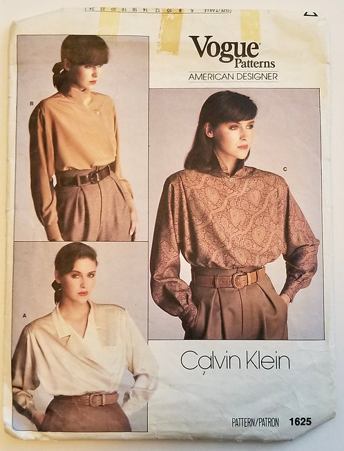 1985 Vogue American Designer pattern #1625 Calvin Klein blouses
