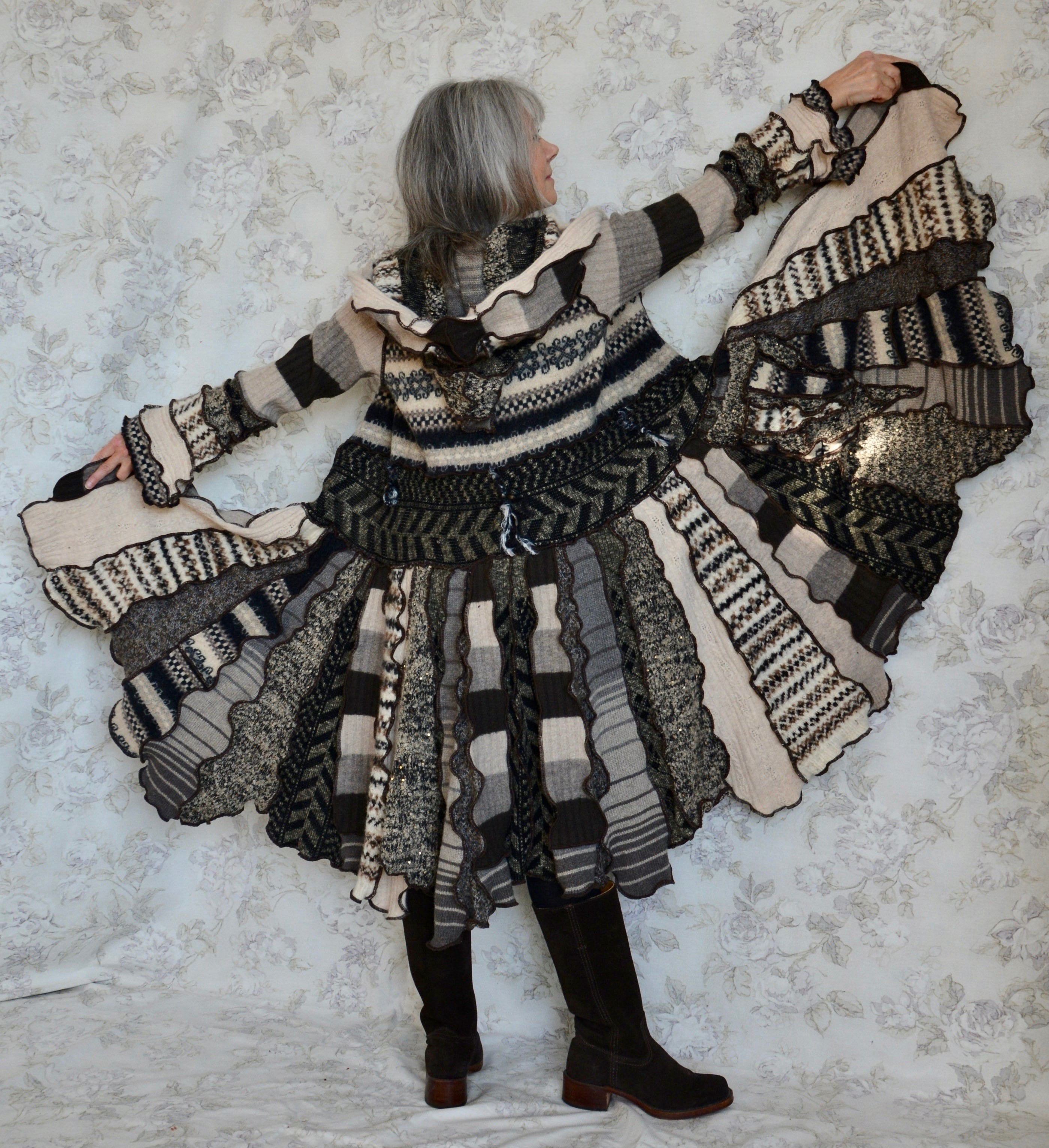 Sweater coat made from upcycled sweaters by Waterloo wearable artist Nildan Atsiz, 2019