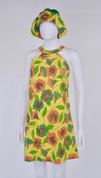 Floral Print Cotton Dress and Hat by Poupee Rouge, c. 1968