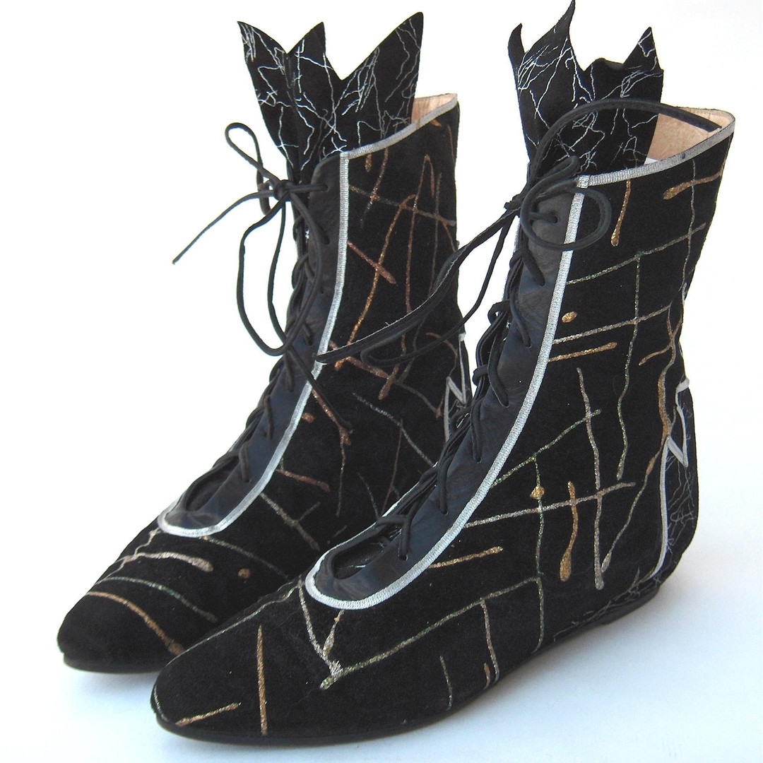 Black Suede Boots with puff paint design, by La Marca, Italian, c. 1984