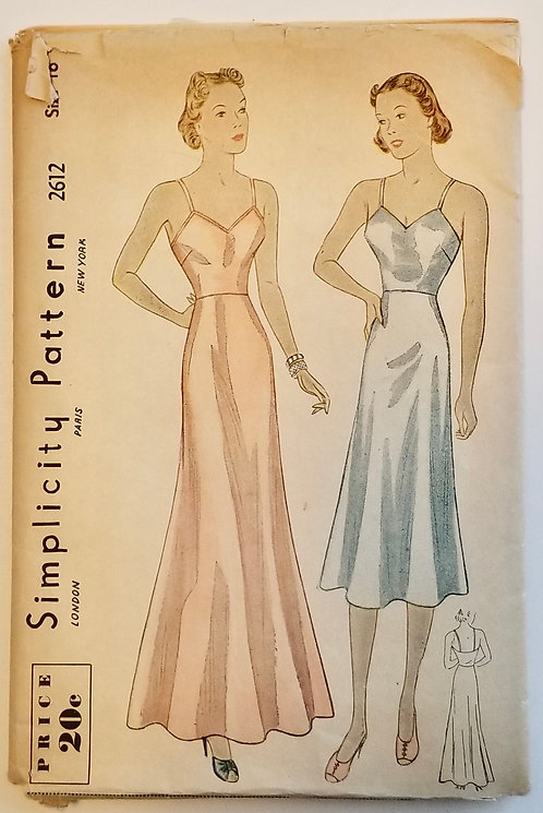 mid/late 1930s Simplicity pattern #2612 slips