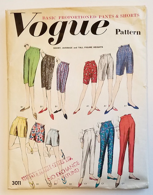 c. 1960 pants pattern for different sizes Vogue #3011