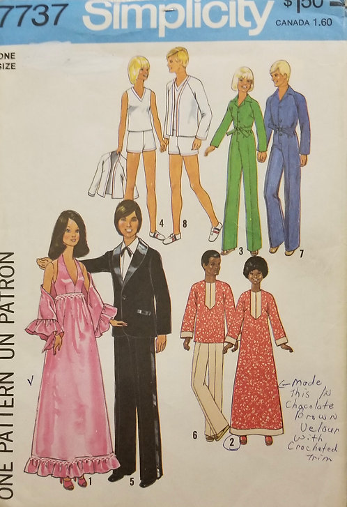 1976 Simplicity doll clothes pattern #7737