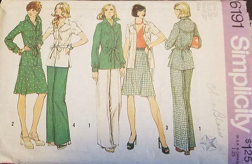 1973 Simplicity pattern #6191 for 2 tops/jackets, skirt and pants