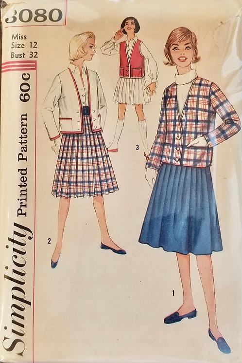 1959 circa Simplicity jacket & skirt set pattern #3080