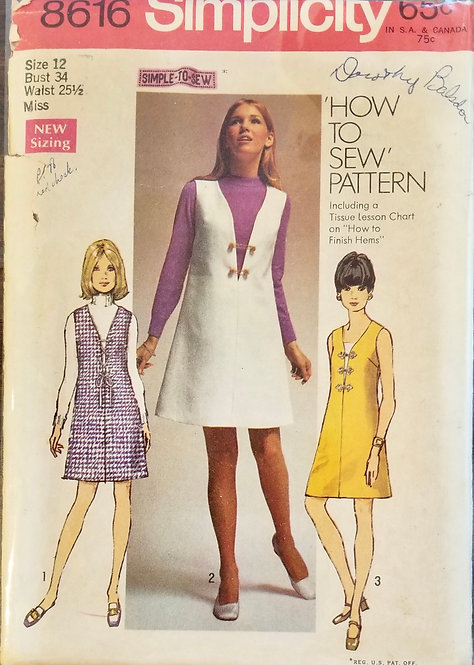 1969 Simplicity dress/jumper pattern #8616