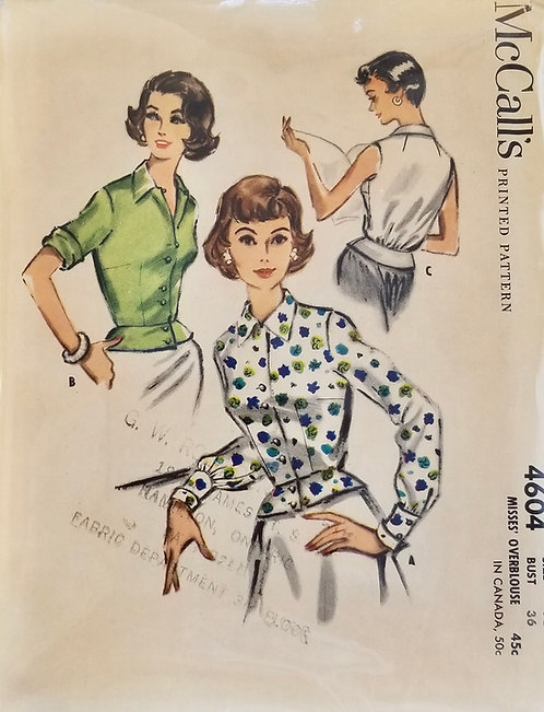 1958 McCall's blouse pattern #4604