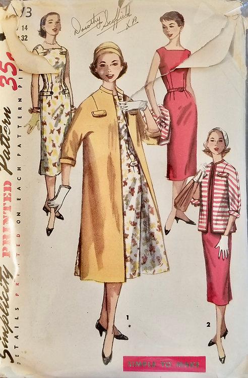 1956 circa Simplicity teenage dress & coat pattern #1473