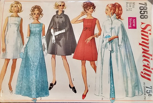 1968 Simplicity dress and cape pattern #7858