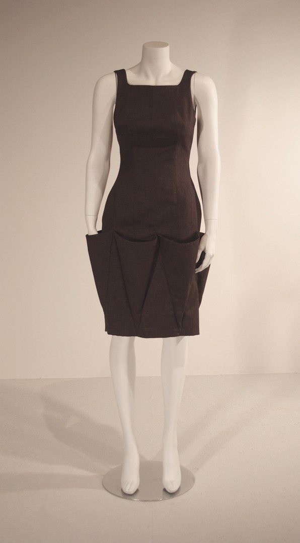 Brown Linen Dress with Triangular Pockets, Spring 2010