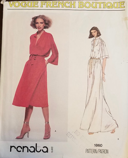 late 1970s Vogue French Boutique dress pattern #1860 by Renata, Paris