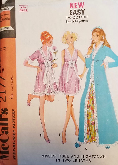 1969 McCall's pattern #2177 for nightgown and robe