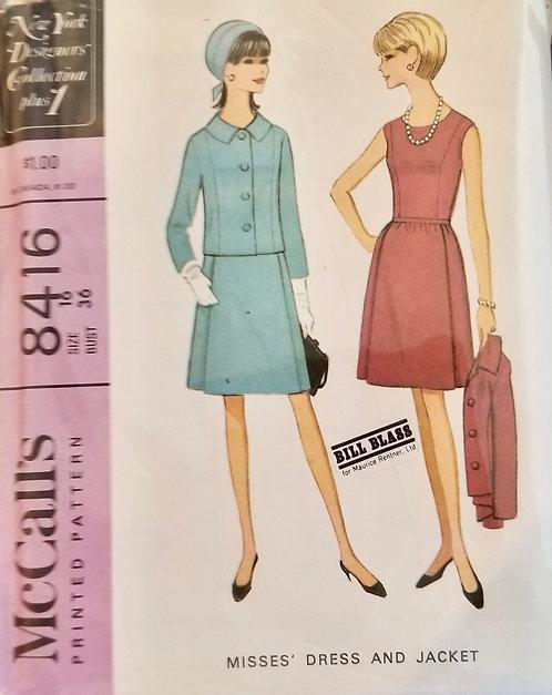 1966 McCall's Bill Blass dress & jacket pattern #8416