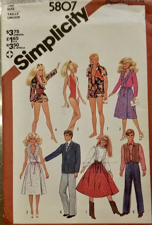 1982 Simplicity doll clothes pattern #5807