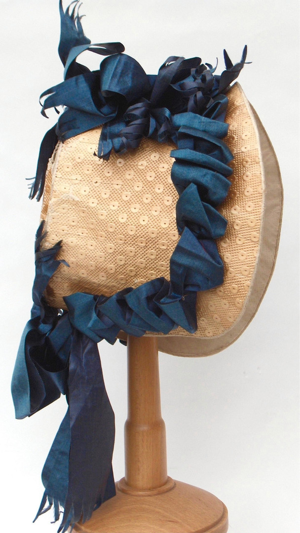 """Bonnet Board"" Bonnet Trimmed with Satin Ribbons, English, c. 1812"