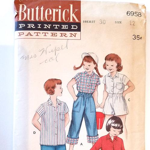 1953 Butterick #6958, girl's shirt, shorts, and dungarees