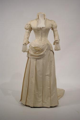 Cream Silk Taffeta and Faille Wedding Dress, 1887