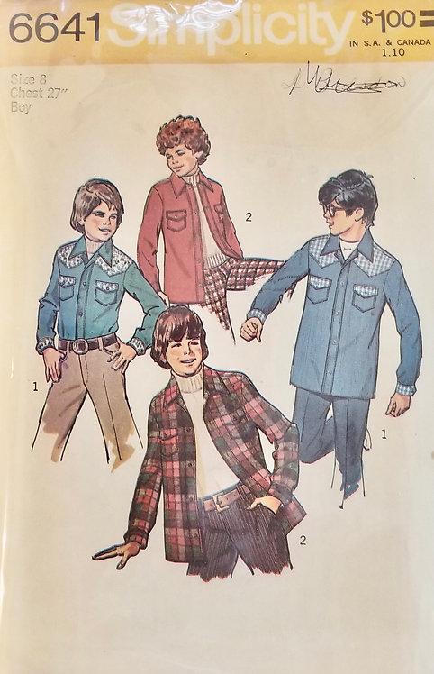 1974 boy's unlined jacket or shirt pattern #6641