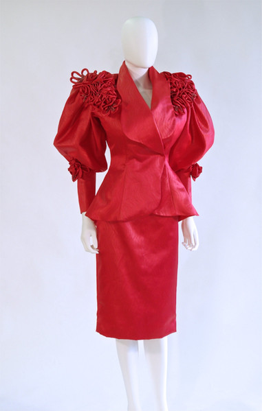 Red Satin Suit by Cache, American,  mid 1980s