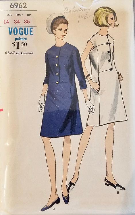 1967 circa Vogue dress pattern #6962
