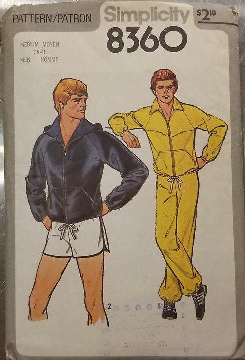 1977 Simplicity men's jacket and drawstring shorts pattern #8360