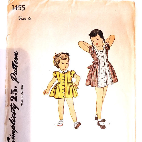 1945 Simplicity #1455 girl's dress