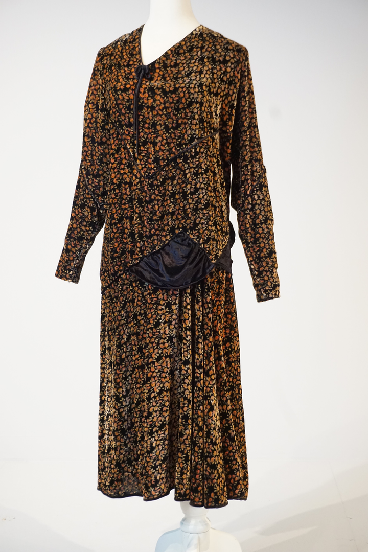 Printed Silk Velvet Dress by Phillipe & Gaston, Paris, 1927