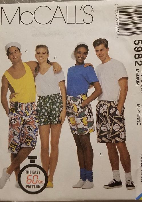 1992 McCall's unisex boxer shorts pattern #5982