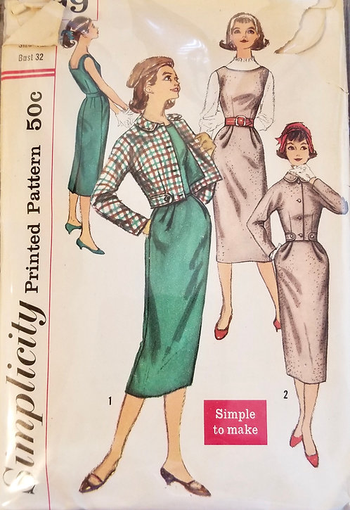 1957 circa Simplicity jumper/dress & jacket pattern #2199